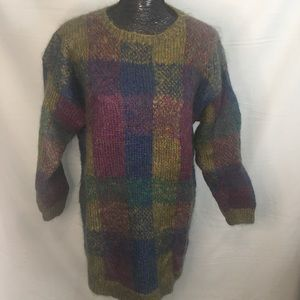 Ralsey Multicolor Mohair Tunic Plaid Sweater M
